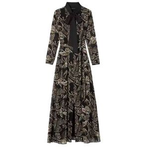 Banana Republic Floral Tie-Neck Maxi Shirtdress